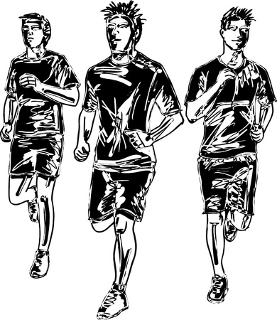 Sketch of men marathon runners  Vector illustration  Vector