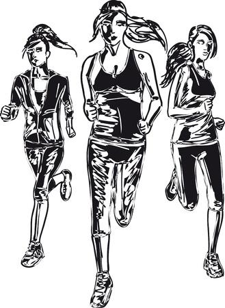 road runner: Boceto de la mujer ilustraci�n vectorial corredores de marat�n