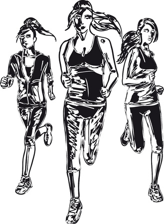 marathon runner: Sketch of women marathon runners  Vector illustration Illustration
