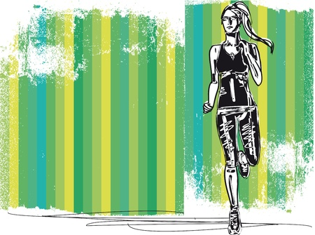 road runner: Boceto de corredor de marat�n femenino, vista de la espalda y la ilustraci�n vectorial frente a