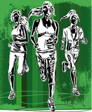 Sketch of women marathon runners  Vector illustration Ilustração