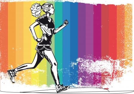 road runner: Boceto de ilustraci�n vectorial corredor de marat�n femenina