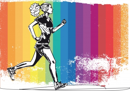 outdoor fitness: Sketch of female marathon runner  Vector illustration Illustration