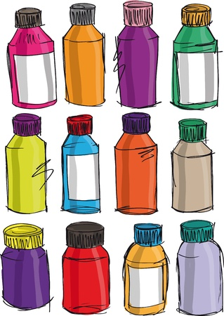 toiletry: Sketch of colorful bottles  Vector illustration