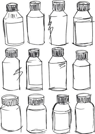 productos de aseo: Boceto de ilustraci�n vectorial botellas