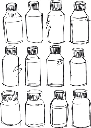 toiletry: Sketch of bottles  Vector illustration