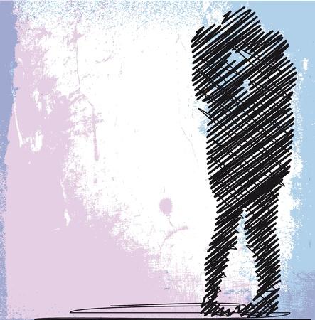 besos apasionados: dibujo abstracto de la pareja bes�ndose. ilustraci�n vectorial