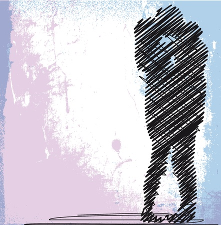 romanticismo: disegno astratto di baciare coppia. illustrazione vettoriale