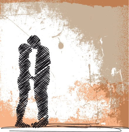honeymoon: abstract sketch of couple kissing. vector illustration