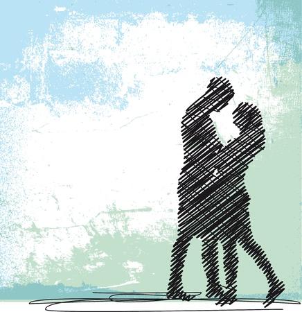 amistad: Boceto de pareja de baile. Ilustración vectorial