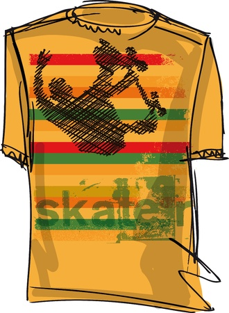 short sale: Sketch of Skateboard boy tee. Vector illustration