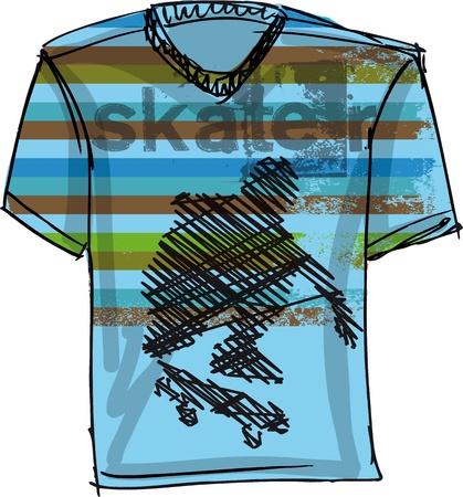 Sketch of Skateboard boy tee. Vector illustration Vector