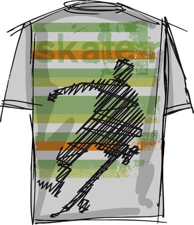sports wear: Sketch of Skateboard boy tee. Vector illustration