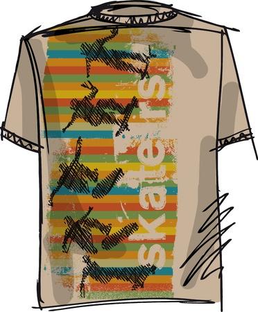 Sketch of Skateboard boy tee. Vector illustration