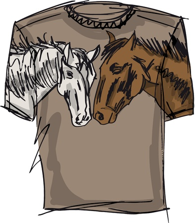 trotter: tee sketch of horse. vector illustration