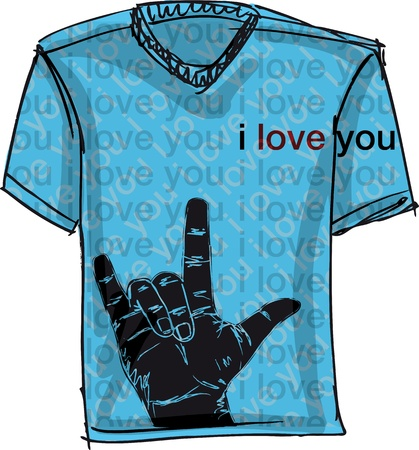 sport wear: i love you tee. Vector illustration Illustration