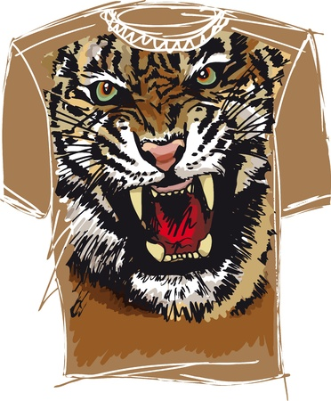 tee sketch of tiger. vector illustration Vector