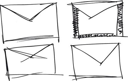 icona busta: Sketch di vendemmia sull'icona della busta posta aerea. Vector illustration