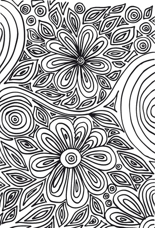 Hand drawn abstract flowers vector illustration