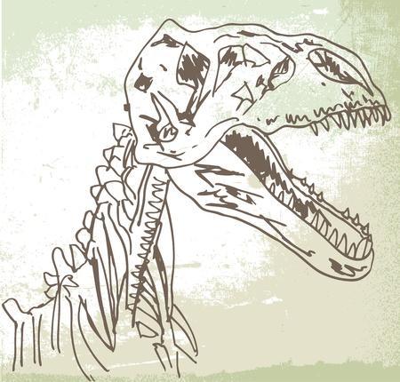 radiography: Sketch of Dinosaur fossil. Vector illustration