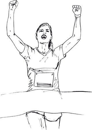 Sketch of woman reaching the finish line in a running event. vector illustration Vector
