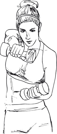 female athletes: Sketch of a woman working out at the gym with dumbbell weights. Vector illustration