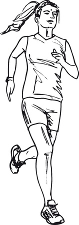 Sketch of female marathon runner. Vector illustration Vector