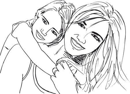 mum and daughter: Sketch di bambina divertirsi con la sua bella madre. Vector illustration Vettoriali