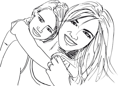 Sketch of little girl having fun with her beautiful mother. Vector illustration Illustration