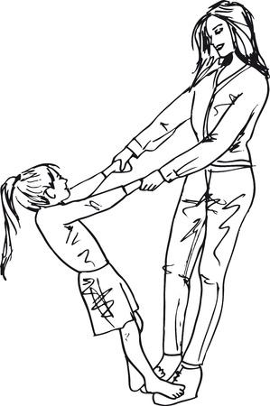 Schets van meisje met plezier met haar mooie moeder. Vector illustratie
