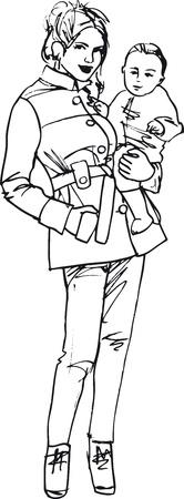 cuddling: Sketch of mom and child, vector illustration