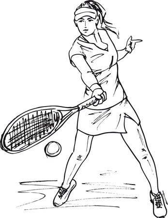 Sketch of woman with tennis racket. Vector illustration Vector