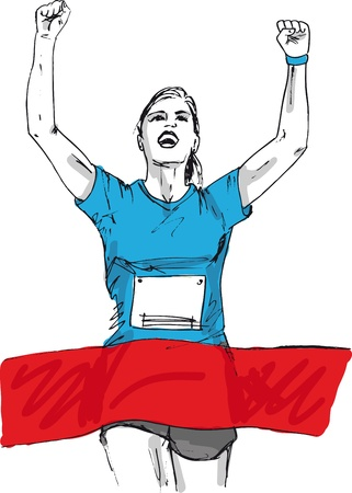acabamento: Sketch of woman reaching the finish line in a running event. vector illustration