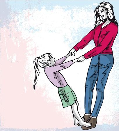 madre e hija: Boceto de la niña se divierte con su hermosa madre. Ilustración vectorial Vectores