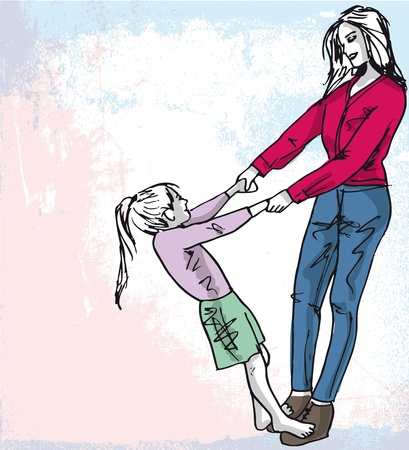 Sketch of little girl having fun with her beautiful mother. Vector illustration Vector