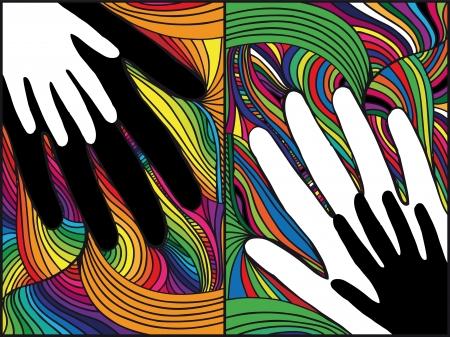 solidaridad: Boceto de la mano sobre fondo abstracto. ilustración vectorial