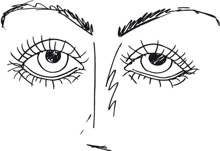 Outlined sketch of Cartoon Eyes. Vector illustration Vector