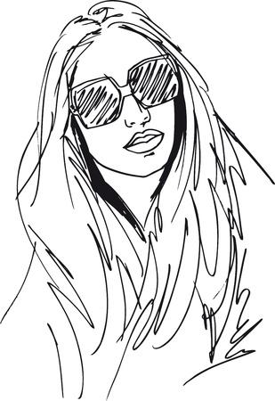 bocetos de personas: Boceto de rostro de mujer hermosa. Ilustraci�n vectorial