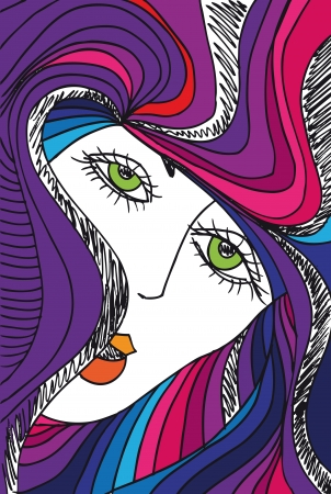 abstract portrait: Abstract sketch of woman face. Vector illustration.
