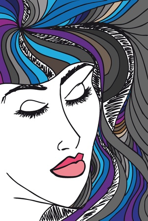 Abstract sketch of woman face. Vector illustration. Vector