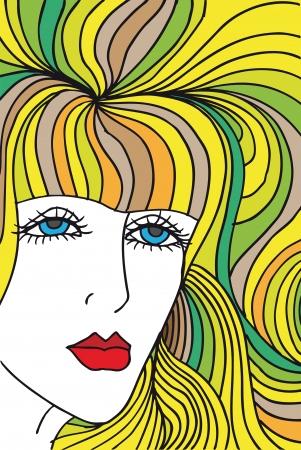 yellow hair: Disegno astratto di volto di donna. Illustrazione vettoriale.