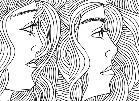sisters sexy: Abstract sketch of women face. Vector illustration. Illustration