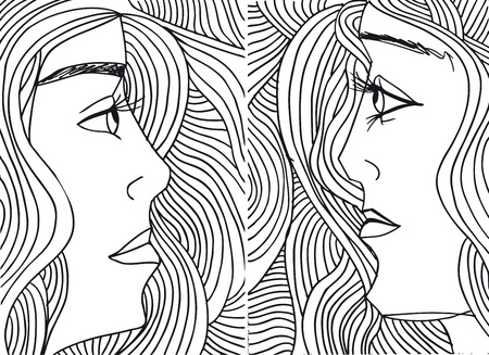 Abstract sketch of women face. Vector illustration. Vector