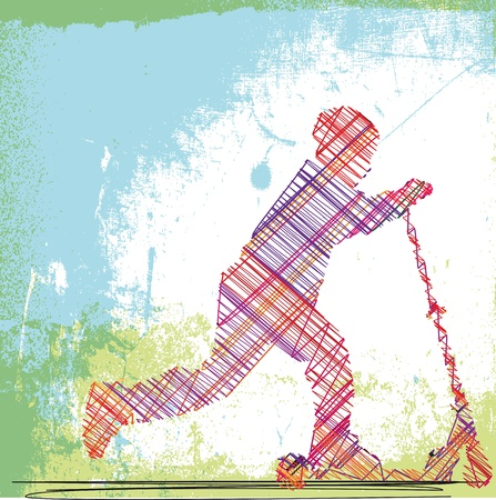 Abstract Sketch of boy with his scooter. Vector illustration Vector