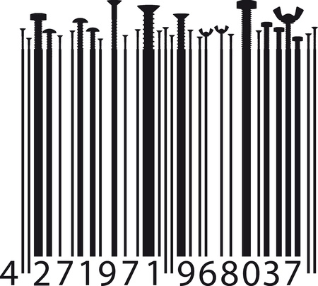 different screw on bar code  illustration Vector