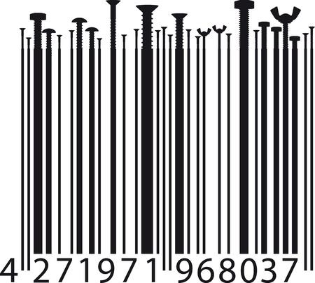 different screw on bar code  illustration Stock Vector - 13830180