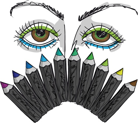 sketch of Cartoon Eyes and Professional eye liner  illustration Vector