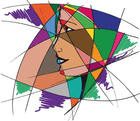 Abstract woman face  illustration  Stock Vector - 13830202