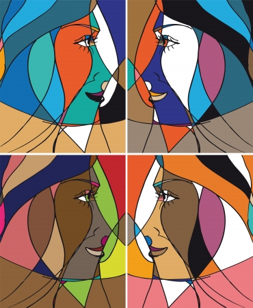 Abstract woman face  illustration Stock Vector - 13830198