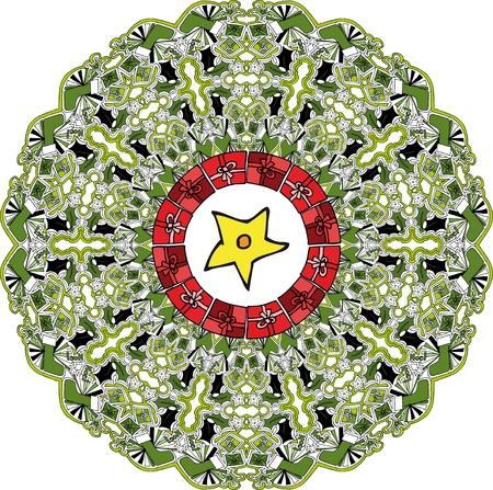 Abstract Christmas wreath. illustration. Vector